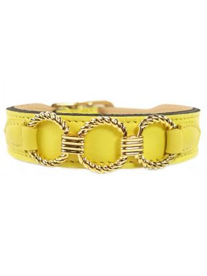 H&R Hondenhalsband Athena in Canary Yellow & Gold