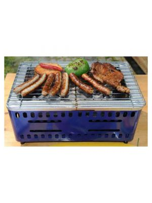 BBQ grill blauw staal 37 cm