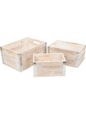 opbergboxen Industrial Style hout 36-26 cm 3-delig