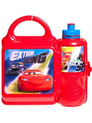 lunchset Cars Extreme Racing broodtrommel & beker rood