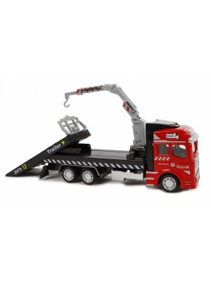 autotransporter diecast pull-back 19 cm rood