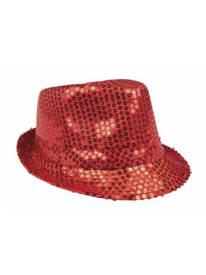 hoed Popstar Sequins unisex one size rood