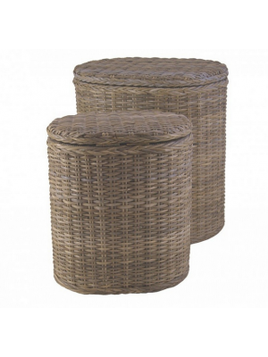 Wasmand Ovaal in Grey Split Rotan