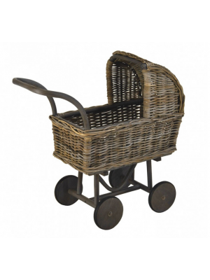 Poppenwagen Hoog in Grey Rotan