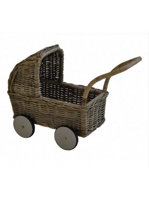 Poppenwagen Laag in Grey Rotan